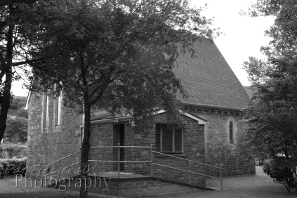 Greyscale version of small chapel in Gougane Barra